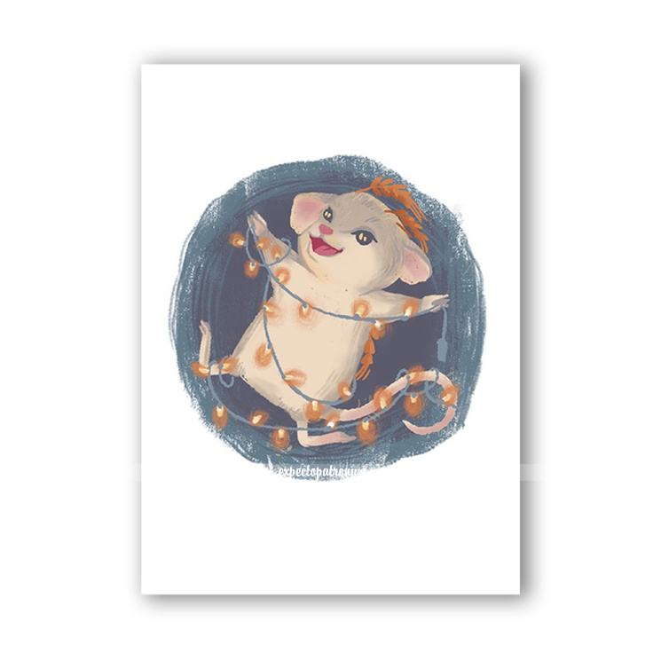 """Новогодняя открытка """"Полевик радостный"""""""