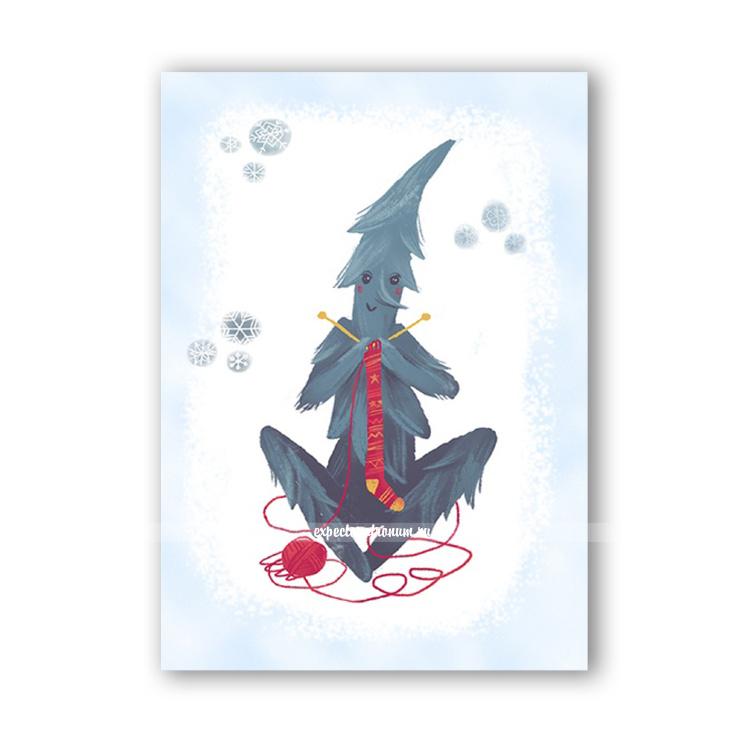 """Новогодняя открытка """"Жердяй и носочек"""""""